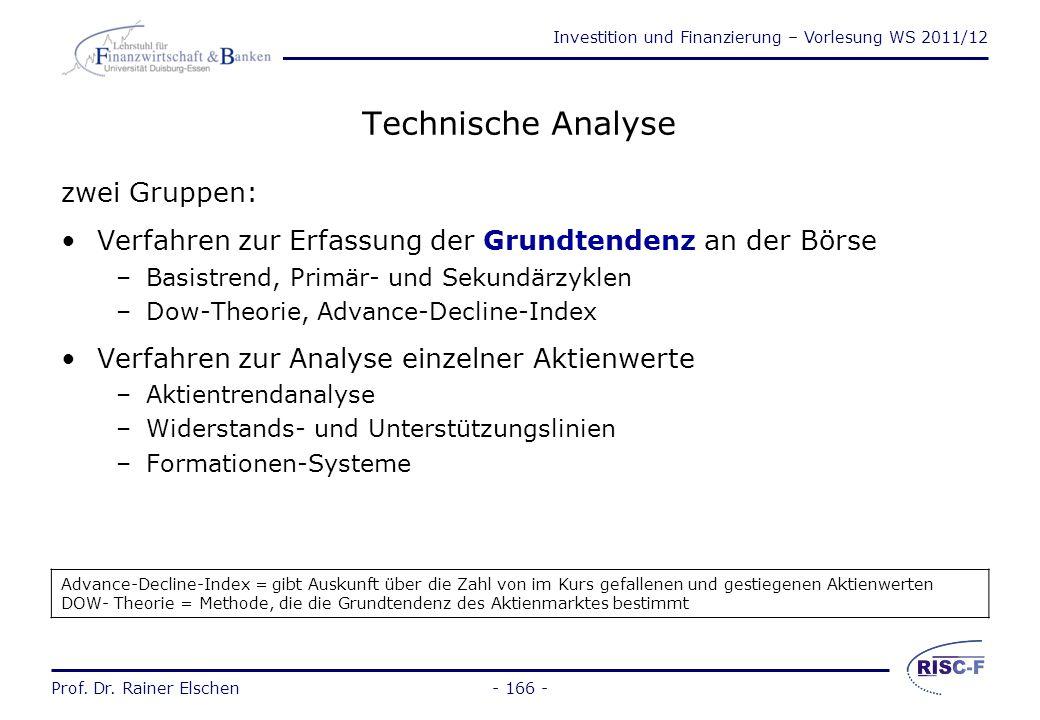 Investition und Finanzierung – Vorlesung WS 2011/12 Prof. Dr. Rainer Elschen- 165 - Fundamentalanalyse (2) Problembereiche: Bestimmung von R t –Gewinn