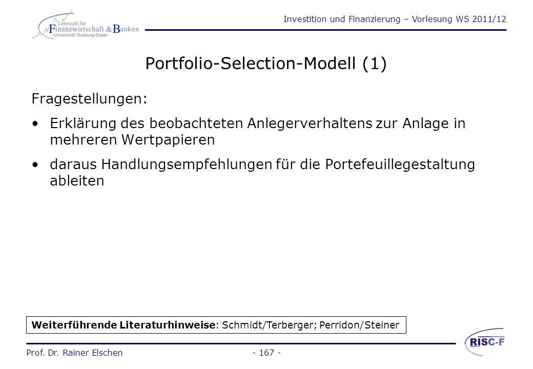 Investition und Finanzierung – Vorlesung WS 2011/12 Prof. Dr. Rainer Elschen- 166 - Technische Analyse zwei Gruppen: Verfahren zur Erfassung der Grund