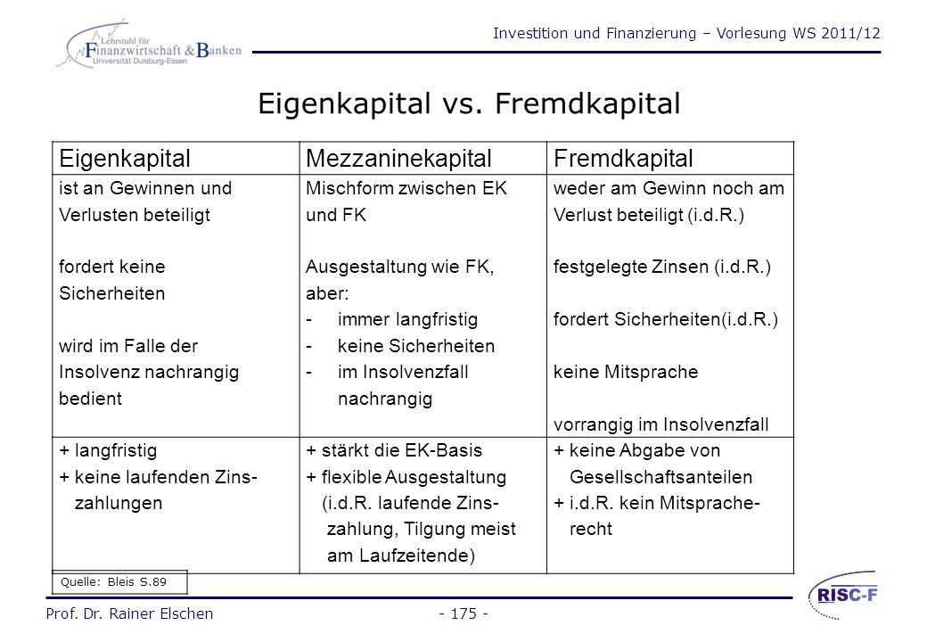Investition und Finanzierung – Vorlesung WS 2011/12 Prof. Dr. Rainer Elschen 3.1 Grundlagen - 174 -