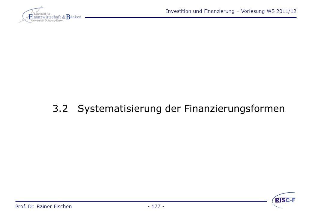Investition und Finanzierung – Vorlesung WS 2011/12 Prof. Dr. Rainer Elschen- 176 - Investition vs. Finanzierung bisher:Wie verwende ich das Kapital a