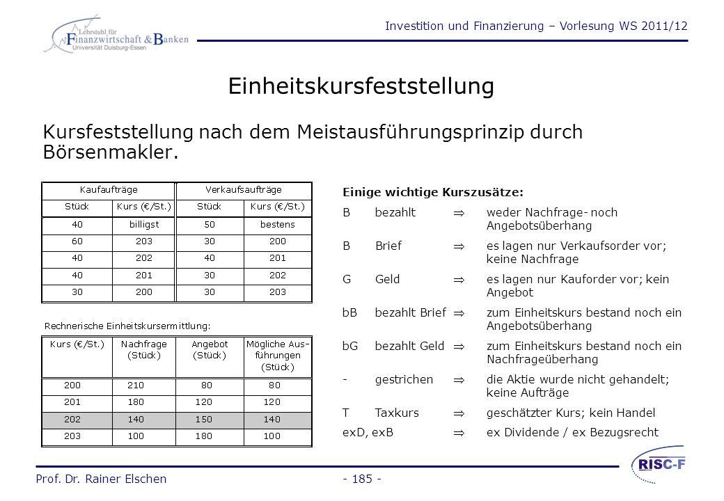 Investition und Finanzierung – Vorlesung WS 2011/12 Prof. Dr. Rainer Elschen- 184 - Prof. Dr. Rainer Elschen Investition und Finanzierung - Vorlesung