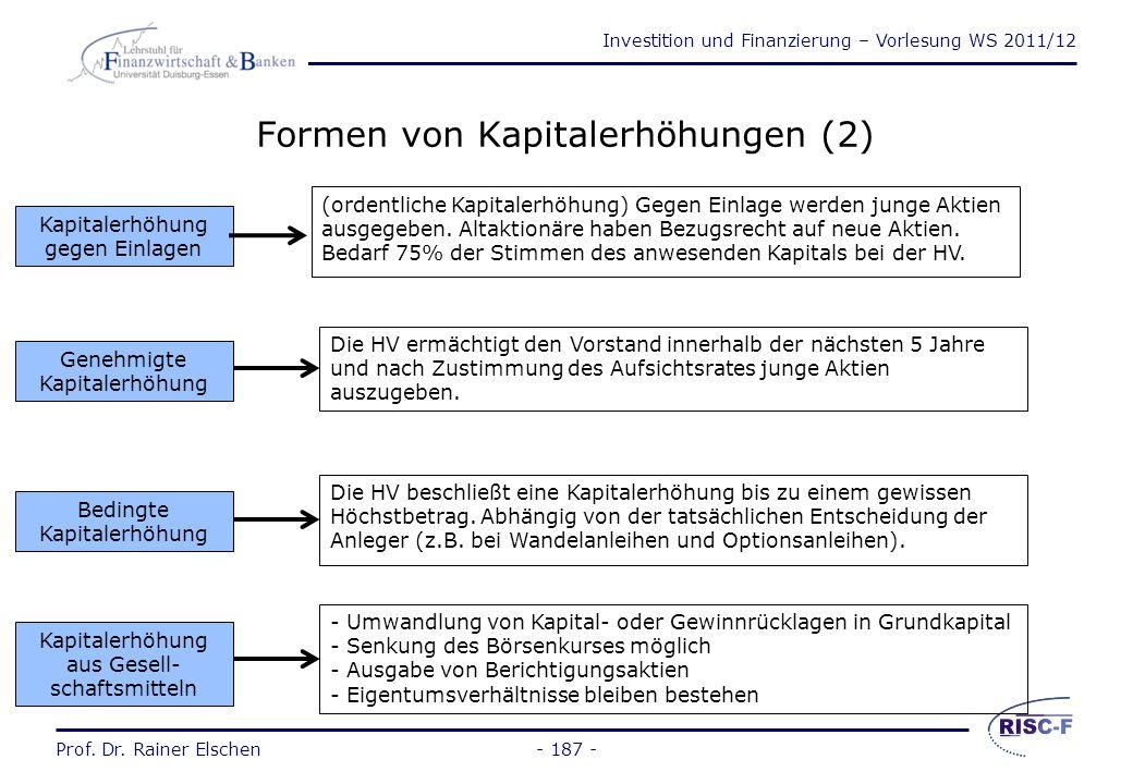 Investition und Finanzierung – Vorlesung WS 2011/12 Prof. Dr. Rainer Elschen- 186 - Formen von Kapitalerhöhungen (1) Kapitalerhöhung durch Ausgabe von