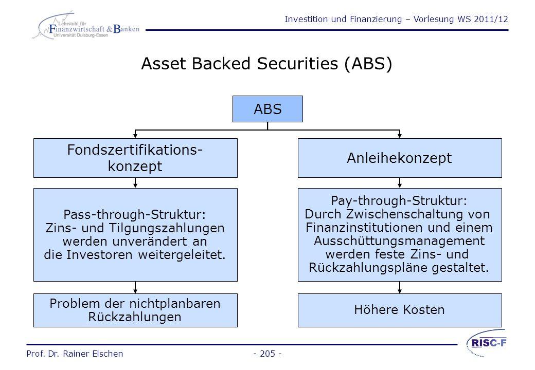 Investition und Finanzierung – Vorlesung WS 2011/12 Prof. Dr. Rainer Elschen- 204 - Factoring  Ankauf von Forderungen aus Lieferungen und Leistungen