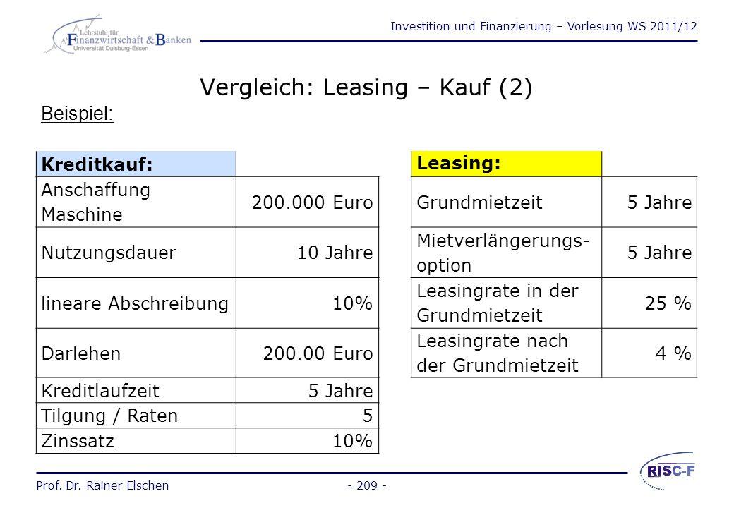 Investition und Finanzierung – Vorlesung WS 2011/12 Prof. Dr. Rainer Elschen- 208 - Vergleich: Leasing – Kauf (1) Ergebnisse von Kapitalwertkalkülen s