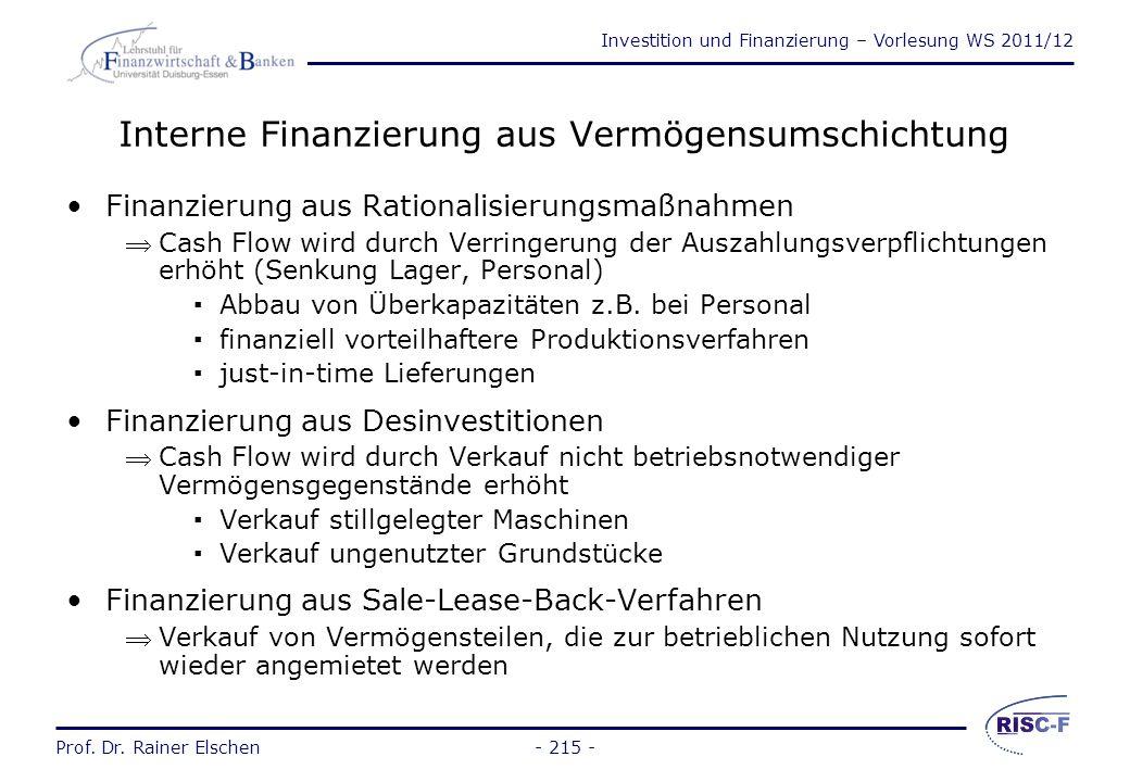 Investition und Finanzierung – Vorlesung WS 2011/12 Prof. Dr. Rainer Elschen Innenfinanzierung - 214 - Innenfinanzierung Selbst- finanzierung Finanzie