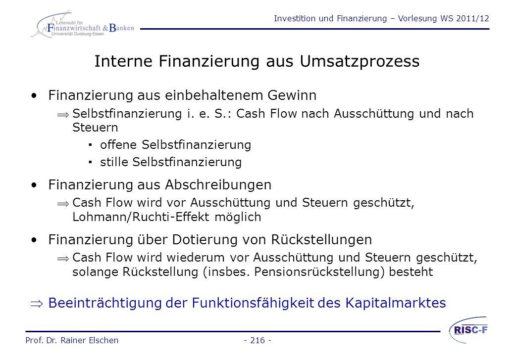 Investition und Finanzierung – Vorlesung WS 2011/12 Prof. Dr. Rainer Elschen- 215 - Interne Finanzierung aus Vermögensumschichtung Finanzierung aus Ra