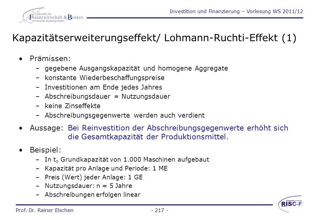 Investition und Finanzierung – Vorlesung WS 2011/12 Prof. Dr. Rainer Elschen- 216 - Interne Finanzierung aus Umsatzprozess Finanzierung aus einbehalte