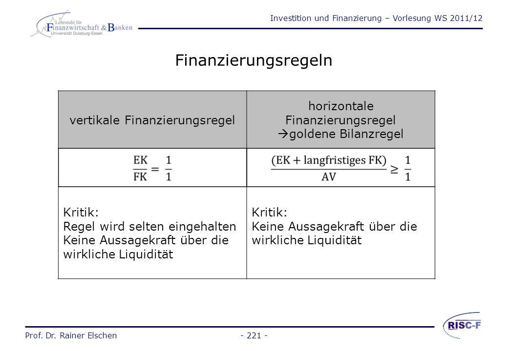 Investition und Finanzierung – Vorlesung WS 2011/12 Prof. Dr. Rainer Elschen- 220 - 3.3Bedeutung der Kapitalstruktur