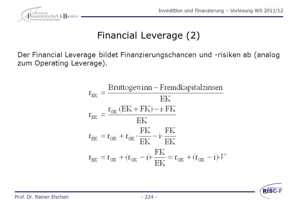 Investition und Finanzierung – Vorlesung WS 2011/12 Prof. Dr. Rainer Elschen Financial Leverage (1) Der Leverage (Hebel) beschreibt wie der Einsatz vo
