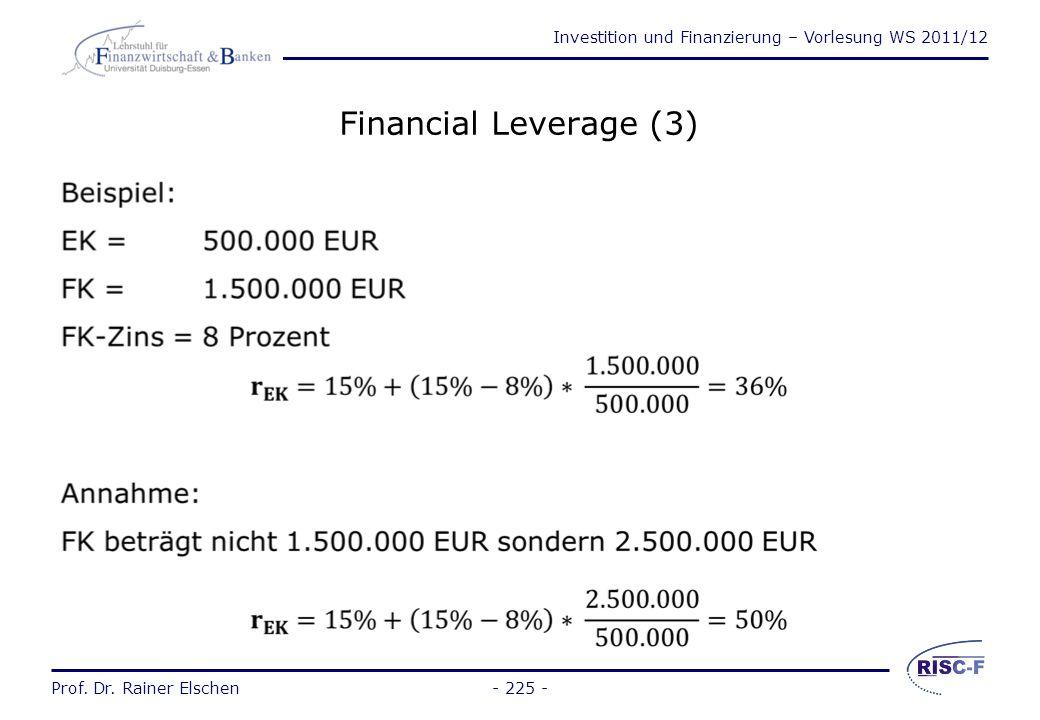Investition und Finanzierung – Vorlesung WS 2011/12 Prof. Dr. Rainer Elschen- 224 - Financial Leverage (2) Der Financial Leverage bildet Finanzierungs