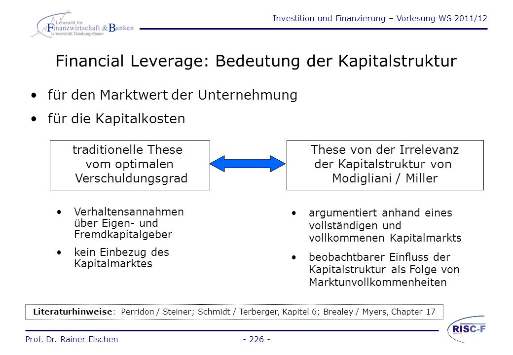 Investition und Finanzierung – Vorlesung WS 2011/12 Prof. Dr. Rainer Elschen Financial Leverage (3) - 225 -