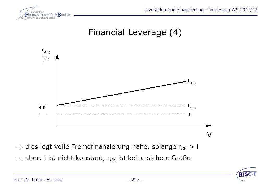 Investition und Finanzierung – Vorlesung WS 2011/12 Prof. Dr. Rainer Elschen- 226 - Financial Leverage: Bedeutung der Kapitalstruktur für den Marktwer