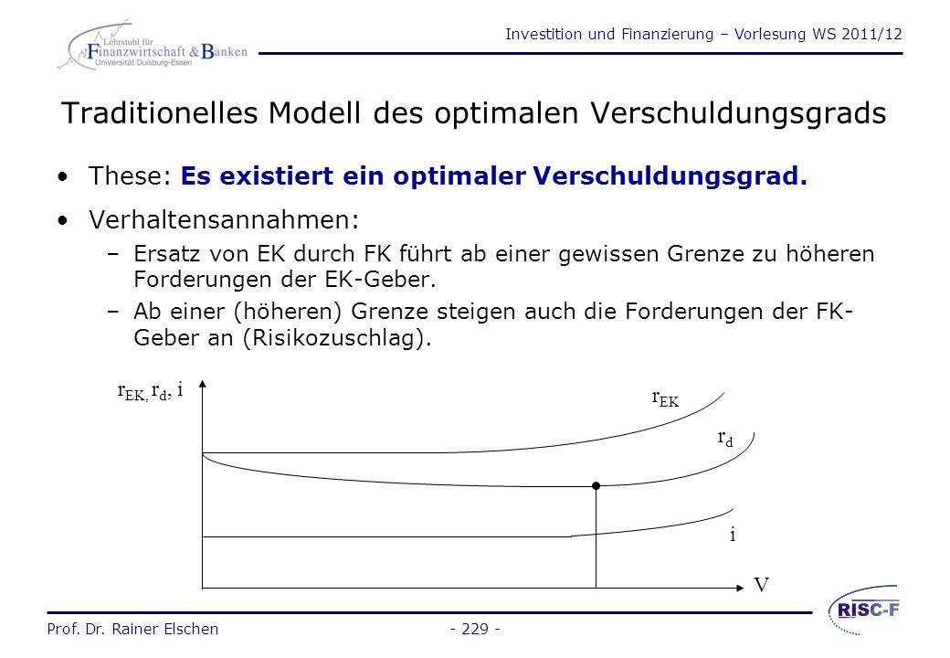 Investition und Finanzierung – Vorlesung WS 2011/12 Prof. Dr. Rainer Elschen- 228 - Financial Leverage (5) r EK bei alternativen x i FKEKV i FK i = 6%