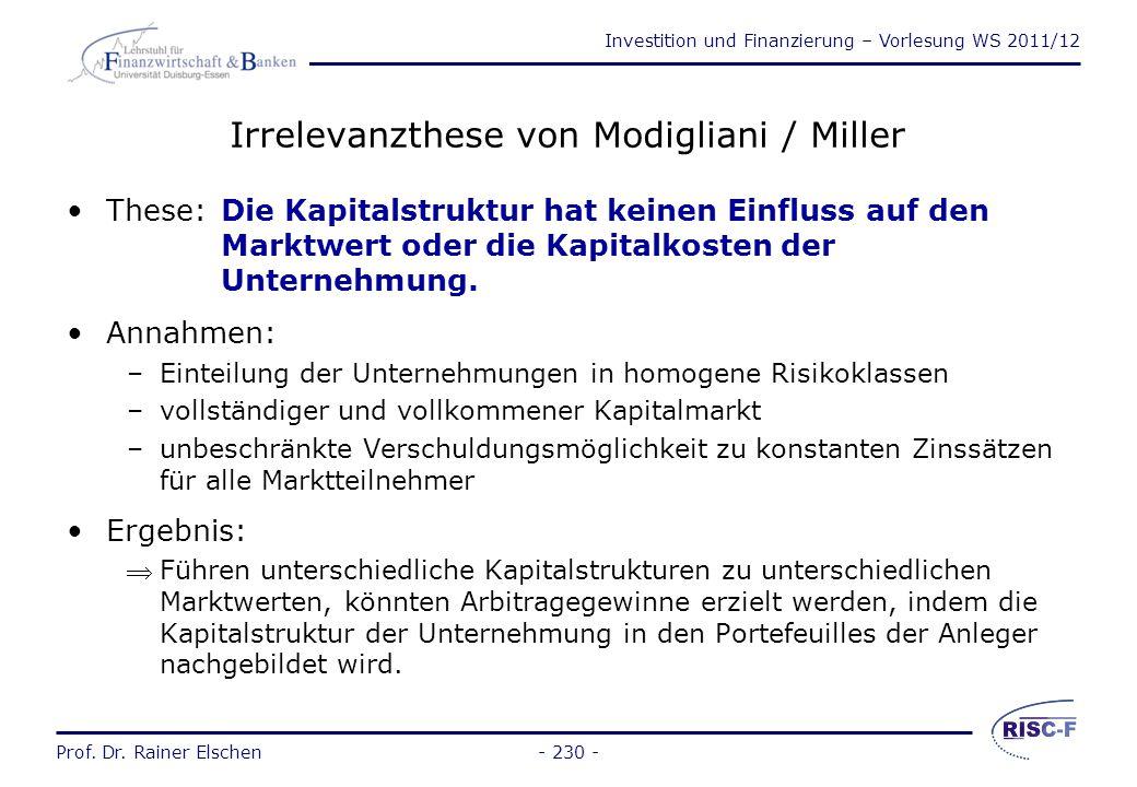 Investition und Finanzierung – Vorlesung WS 2011/12 Prof. Dr. Rainer Elschen- 229 - Traditionelles Modell des optimalen Verschuldungsgrads These: Es e