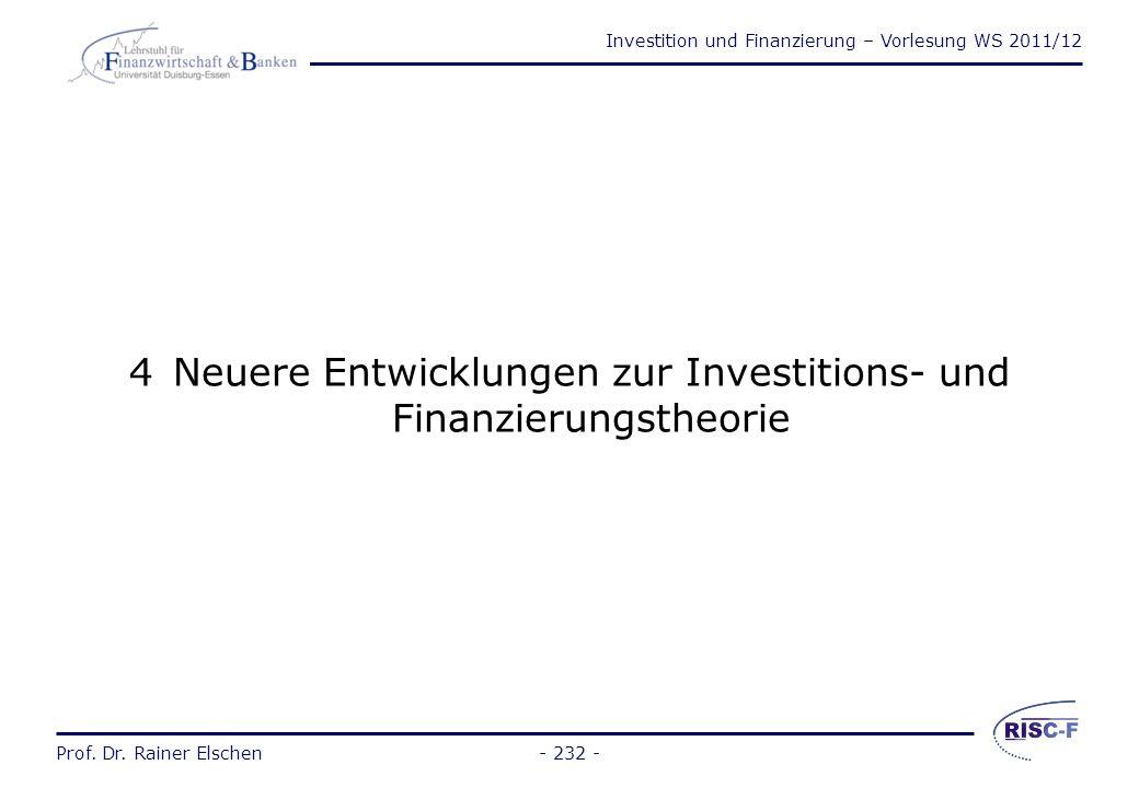 Investition und Finanzierung – Vorlesung WS 2011/12 Prof. Dr. Rainer Elschen Wiederholungsfragen Kapitel 3 (1) 1.Was ist Mezzaninekapital? 2.Welche Fo