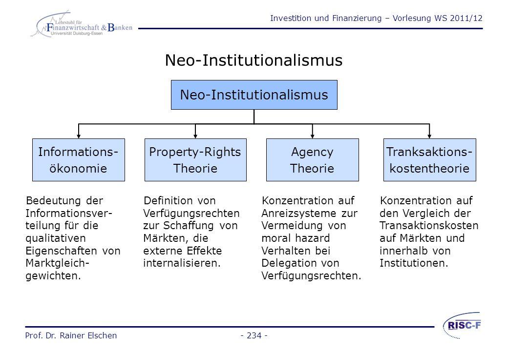 Investition und Finanzierung – Vorlesung WS 2011/12 Prof. Dr. Rainer Elschen- 233 - Neuere Entwicklungen Die wesentlichen Unterschiede der Annahmen de
