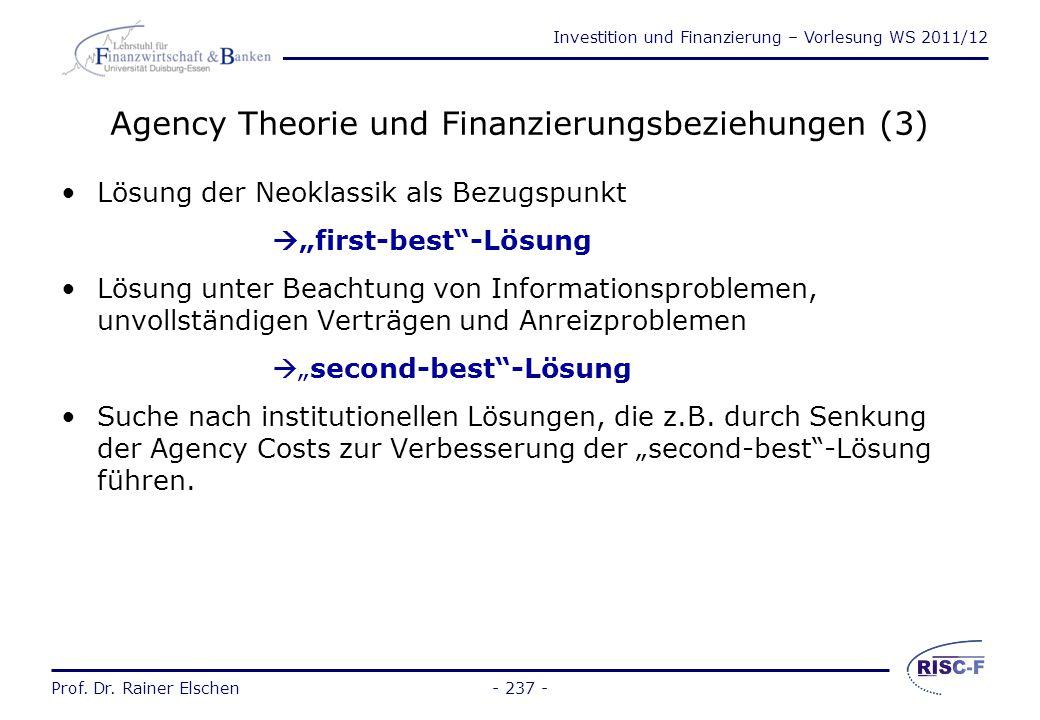 Investition und Finanzierung – Vorlesung WS 2011/12 Prof. Dr. Rainer Elschen- 236 - Agency Theorie und Finanzierungsbeziehungen (2) Nach Vertragsabsch