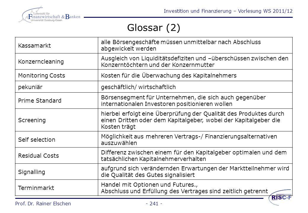 Investition und Finanzierung – Vorlesung WS 2011/12 Prof. Dr. Rainer Elschen Glossar (1) Amtlicher Markt Marktsegment an der deutschen Wertpapierbörse