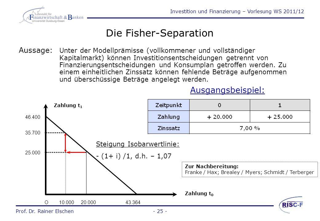 Investition und Finanzierung – Vorlesung WS 2011/12 Prof. Dr. Rainer Elschen Vollkommener und vollständiger Markt  Vollkommener Markt: Markt mit homo