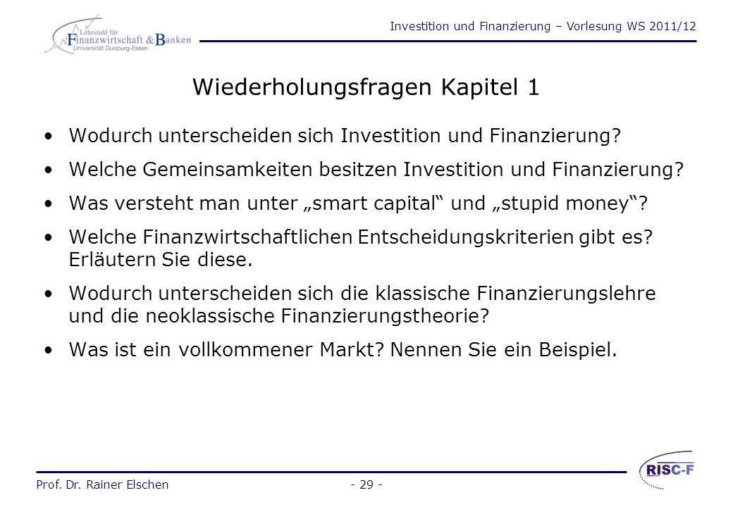 """Investition und Finanzierung – Vorlesung WS 2011/12 Prof. Dr. Rainer Elschen- 28 - Neoinstitutionalistische Finanzierungstheorie (2) Folgen: –""""Moral H"""