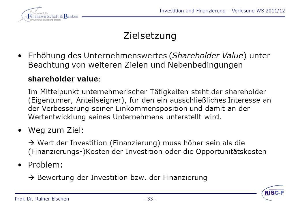 Investition und Finanzierung – Vorlesung WS 2011/12 Prof. Dr. Rainer Elschen- 32 - Der weiter verengte (zahlungsorientierte) Investitionsbegriff Die I