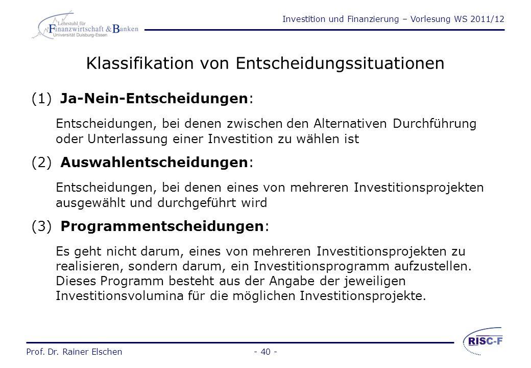 Investition und Finanzierung – Vorlesung WS 2011/12 Prof. Dr. Rainer Elschen- 39 - Investitionsobjekte einzelne Gegenstände des Unternehmungsvermögens