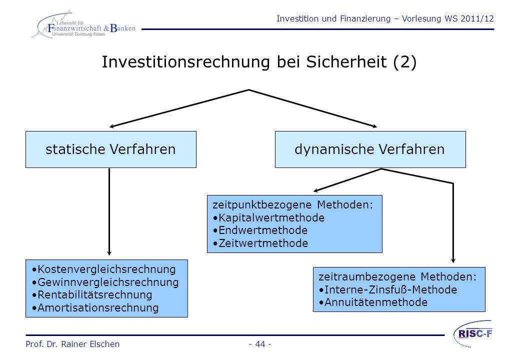 Investition und Finanzierung – Vorlesung WS 2011/12 Prof. Dr. Rainer Elschen- 43 - Investitionsrechnung bei Sicherheit (1) Zunächst werden Verfahren b
