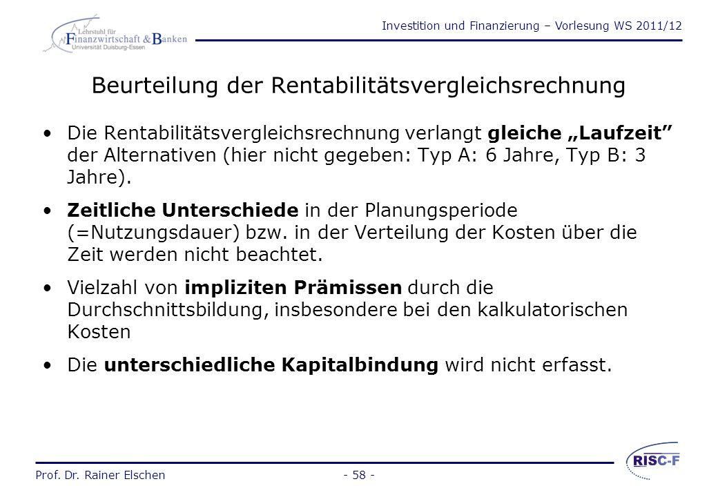 Investition und Finanzierung – Vorlesung WS 2011/12 Prof. Dr. Rainer Elschen- 57 - Entscheidungsregel: Rentabilitätsvergleichsrechnung Entscheidungsgr