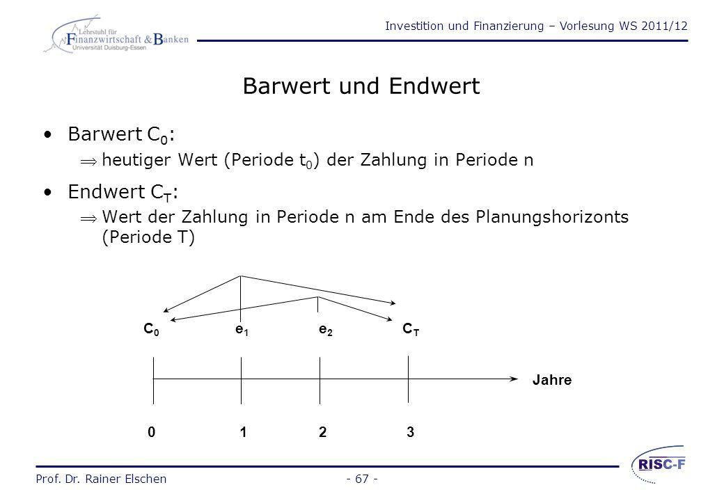 Investition und Finanzierung – Vorlesung WS 2011/12 Prof. Dr. Rainer Elschen- 66 - Dynamische Investitionsverfahren Erweiterungen von dynamischen Mode