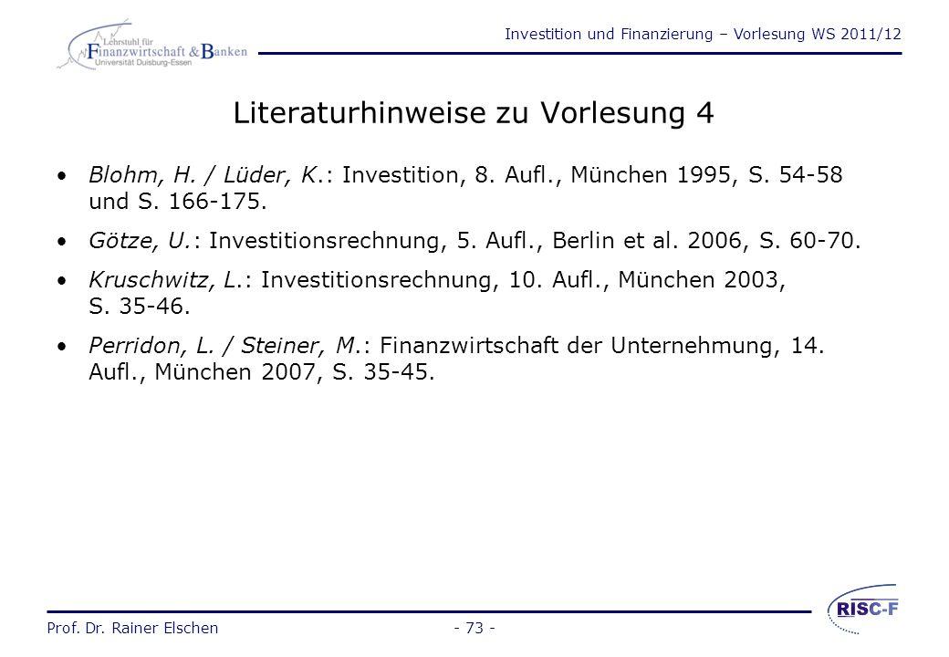 Investition und Finanzierung – Vorlesung WS 2011/12 Prof. Dr. Rainer Elschen- 72 - Die Barwerte r = 5% r = 10% r = 15% Barwerte Jahr 5%10%15% 1.952.90
