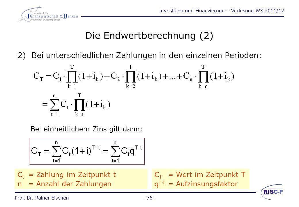 Investition und Finanzierung – Vorlesung WS 2011/12 Prof. Dr. Rainer Elschen- 75 - Die Endwertberechnung (1) 1) Bei einmaliger Zahlung im Zeitpunkt n: