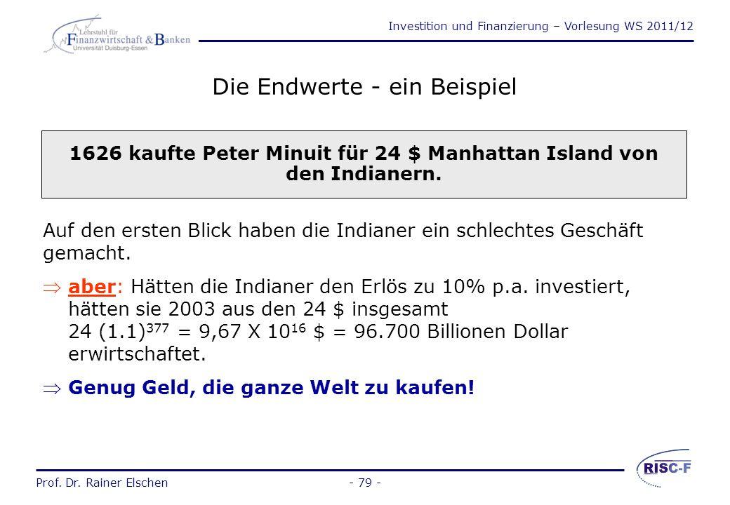 Investition und Finanzierung – Vorlesung WS 2011/12 Prof. Dr. Rainer Elschen- 78 - Die Endwerte 0 2 4 6 8 10 12 14 16 18 05101520 Jahre r = 5% r = 10%