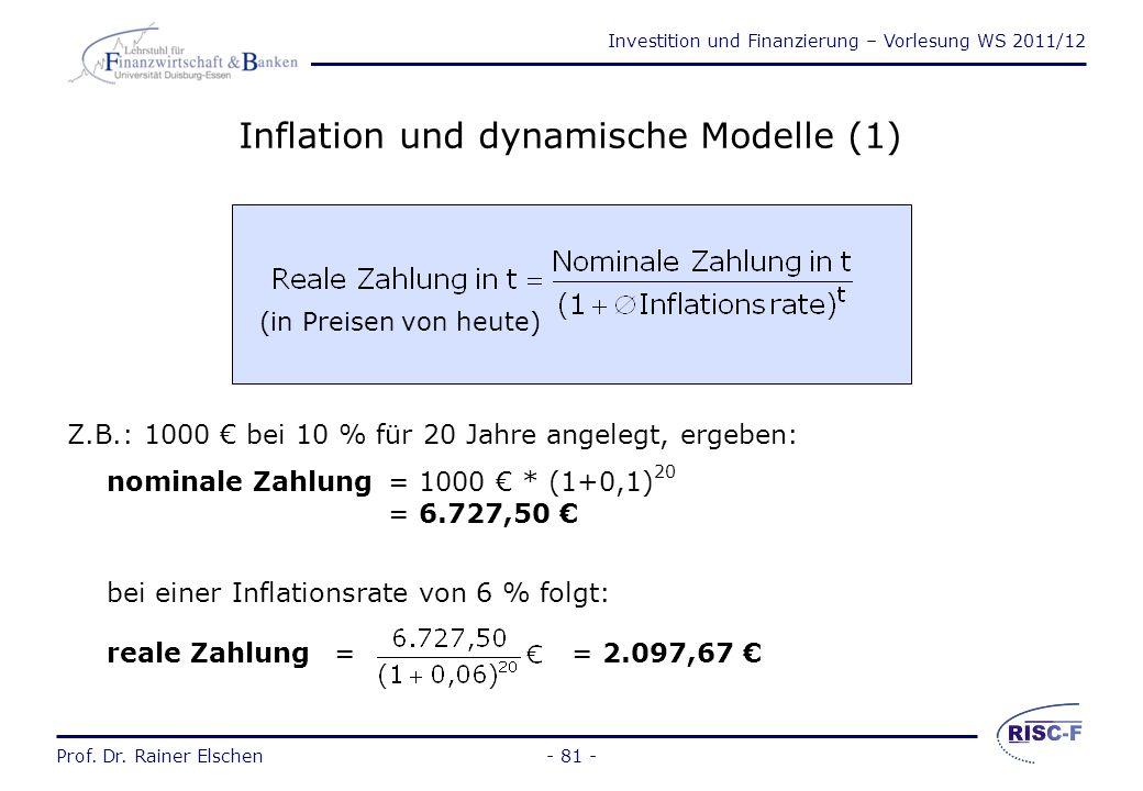 Investition und Finanzierung – Vorlesung WS 2011/12 Prof. Dr. Rainer Elschen- 80 - Der Zinssatz bei der Barwert- bzw. bei der Endwertberechnung Der ka
