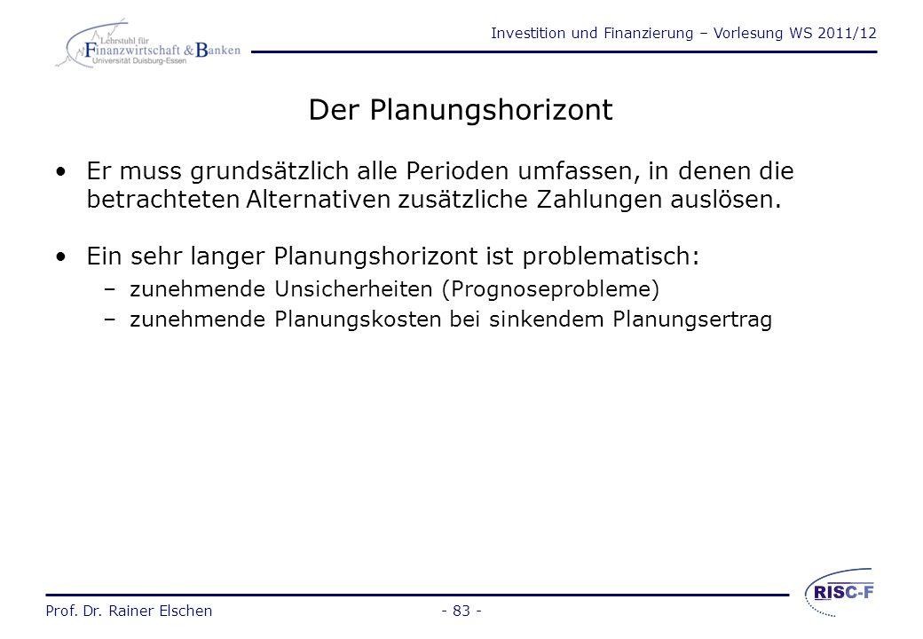 Investition und Finanzierung – Vorlesung WS 2011/12 Prof. Dr. Rainer Elschen- 82 - Inflation und dynamische Modelle (2)  FISHER-GLEICHUNG Regelmäßig