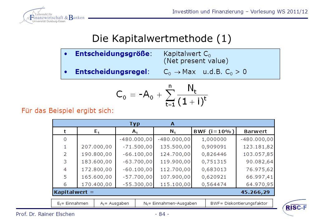 Investition und Finanzierung – Vorlesung WS 2011/12 Prof. Dr. Rainer Elschen- 83 - Der Planungshorizont Er muss grundsätzlich alle Perioden umfassen,