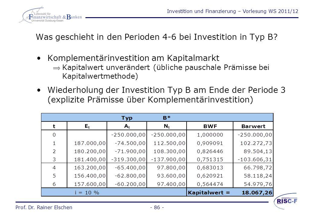 Investition und Finanzierung – Vorlesung WS 2011/12 Prof. Dr. Rainer Elschen- 85 - Die Kapitalwertmethode (2) Der Kapitalwert entspricht dem im Planze