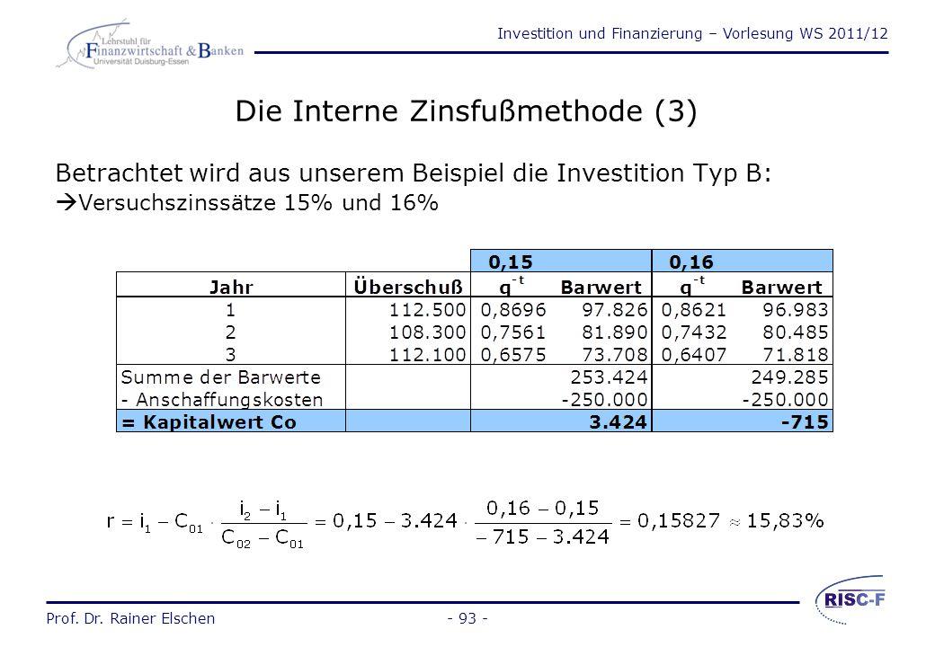 Investition und Finanzierung – Vorlesung WS 2011/12 Prof. Dr. Rainer Elschen- 92 - Die Interne Zinsfußmethode (2) r C0C0 i i1i1 i2i2 i*i* C 02 C 01 Li