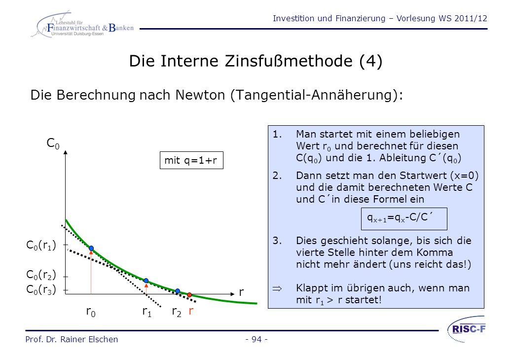Investition und Finanzierung – Vorlesung WS 2011/12 Prof. Dr. Rainer Elschen- 93 - Die Interne Zinsfußmethode (3) Betrachtet wird aus unserem Beispiel