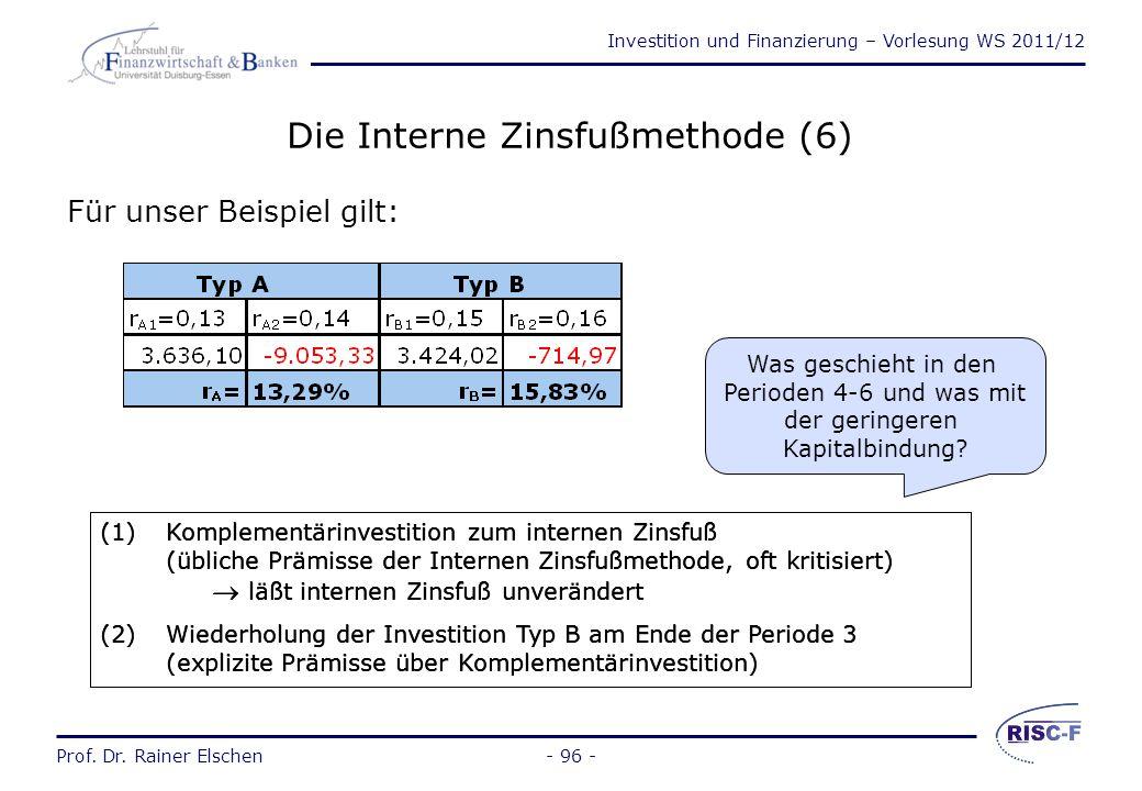 Investition und Finanzierung – Vorlesung WS 2011/12 Prof. Dr. Rainer Elschen- 95 - Die Interne Zinsfußmethode (5) Die Berechnung des internen Zinsfuße