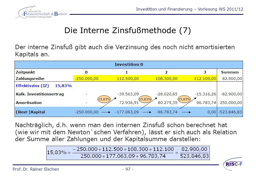 Investition und Finanzierung – Vorlesung WS 2011/12 Prof. Dr. Rainer Elschen- 96 - Die Interne Zinsfußmethode (6) Für unser Beispiel gilt: (1)Kompleme