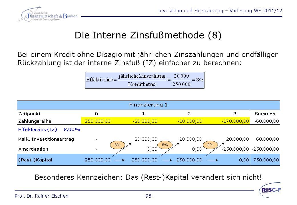 Investition und Finanzierung – Vorlesung WS 2011/12 Prof. Dr. Rainer Elschen- 97 - Die Interne Zinsfußmethode (7) Der interne Zinsfuß gibt auch die Ve