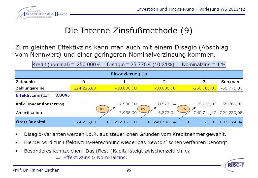 Investition und Finanzierung – Vorlesung WS 2011/12 Prof. Dr. Rainer Elschen- 98 - Die Interne Zinsfußmethode (8) Bei einem Kredit ohne Disagio mit jä