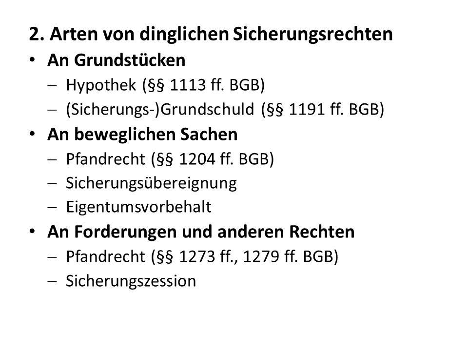 2.Arten von dinglichen Sicherungsrechten An Grundstücken  Hypothek (§§ 1113 ff.