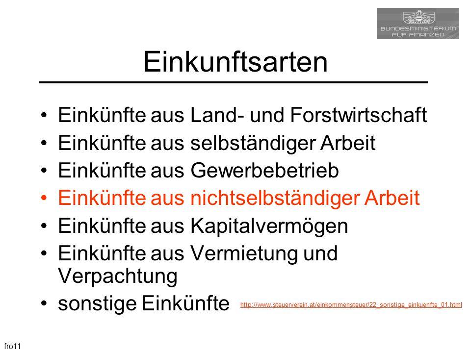 frö11 Einkunftsarten Einkünfte aus Land- und Forstwirtschaft Einkünfte aus selbständiger Arbeit Einkünfte aus Gewerbebetrieb Einkünfte aus nichtselbst