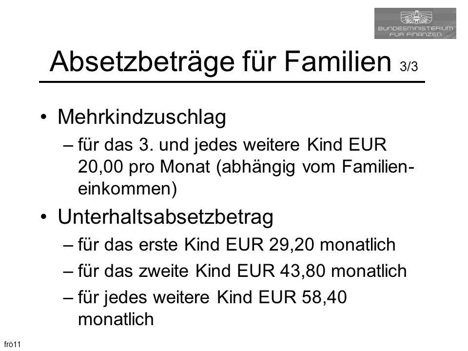 frö11 Absetzbeträge für Familien 3/3 Mehrkindzuschlag –für das 3. und jedes weitere Kind EUR 20,00 pro Monat (abhängig vom Familien- einkommen) Unterh