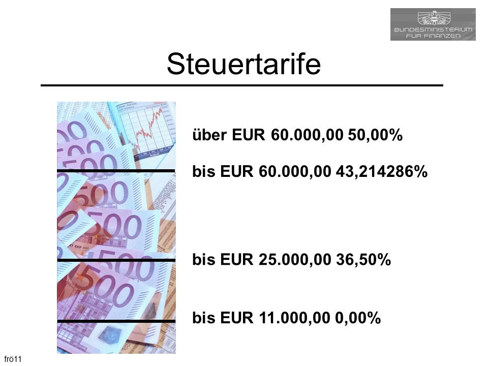 frö11 Steuertarife bis EUR 11.000,00 0,00% bis EUR 60.000,00 43,214286% bis EUR 25.000,00 36,50% über EUR 60.000,00 50,00%