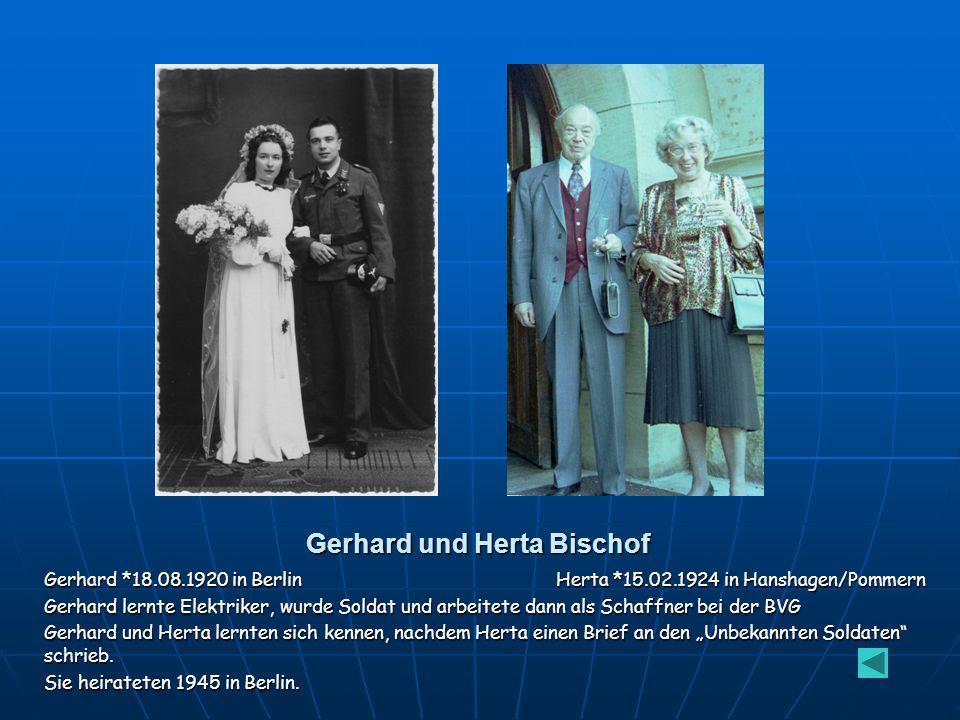 Herta Krüger *15.02.1924 in Hanshagen Sie zog mit ihren Eltern 1926 nach Berlin und lernte nach ihrer Schule Schneiderin. Sie war im Reichsarbeitsdien