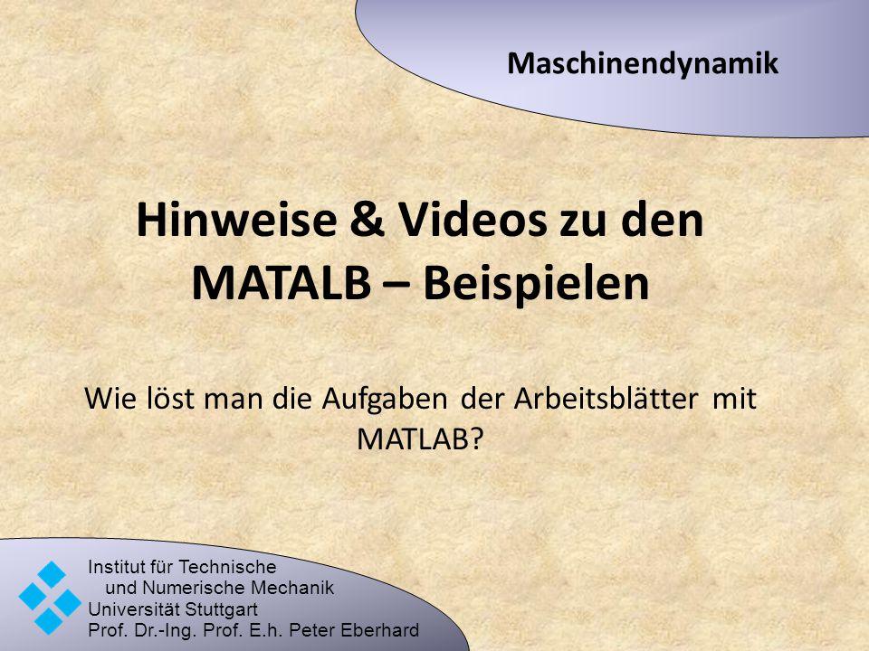 Hinweise & Videos zu den MATALB – Beispielen Wie löst man die Aufgaben der Arbeitsblätter mit MATLAB? Maschinendynamik Institut für Technische und Num