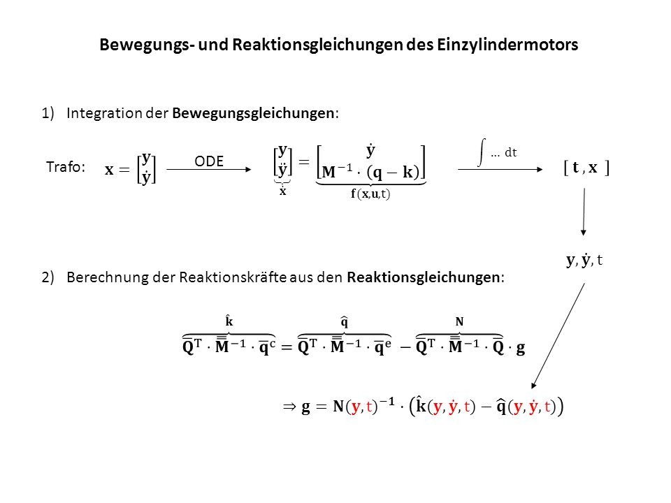 Bewegungs- und Reaktionsgleichungen des Einzylindermotors ODE Trafo: 1)Integration der Bewegungsgleichungen: 2)Berechnung der Reaktionskräfte aus den Reaktionsgleichungen: