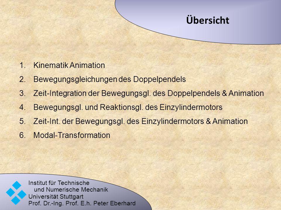 Übersicht Institut für Technische und Numerische Mechanik Universität Stuttgart Prof. Dr.-Ing. Prof. E.h. Peter Eberhard 1.Kinematik Animation 2.Beweg